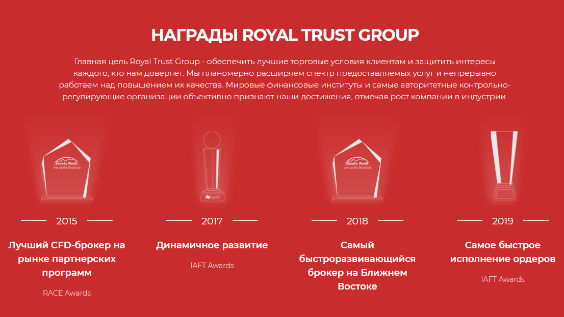 Royal Trust Group: брокер со множеством наград или очередной обман?